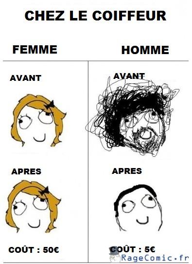 Homme/Femme chez le coiffeur