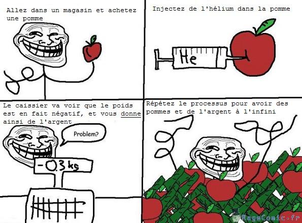 Pommes à l'hélium