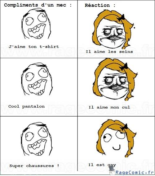 Réactions d'une fille