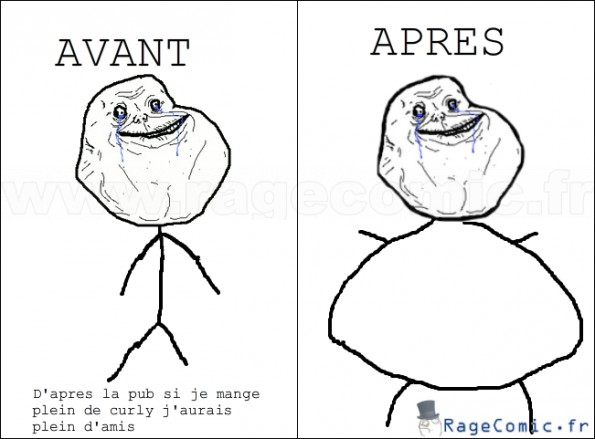 vive curly forever alone rage comics francais troll face